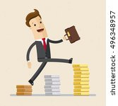 happy businessman or manager go ... | Shutterstock .eps vector #496348957