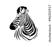 Head Of Zebra In Black And...