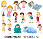 doctor and many sick patients... | Shutterstock .eps vector #496356673