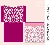 die laser cut wedding card...   Shutterstock .eps vector #496360633