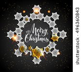 card with gold snowflakes on... | Shutterstock .eps vector #496360843