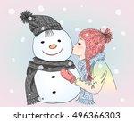 hand drawn beautiful cute girl...   Shutterstock .eps vector #496366303