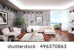 modern bright interior . 3d...   Shutterstock . vector #496370863