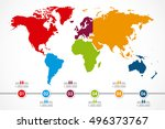 world map infographic with 6... | Shutterstock .eps vector #496373767