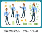 set of successfully  smiling... | Shutterstock .eps vector #496377163