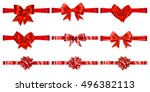set of beautiful red bows with... | Shutterstock .eps vector #496382113