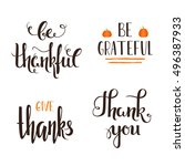 set of four thanksgiving hand...   Shutterstock .eps vector #496387933