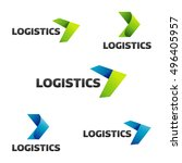 logistic company vector logo.... | Shutterstock .eps vector #496405957