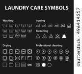 icon set of laundry symbols.... | Shutterstock .eps vector #496414357