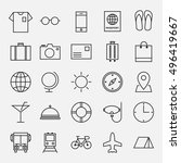 collection of travel line icons ... | Shutterstock .eps vector #496419667