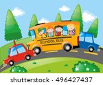 road scene with children riding ... | Shutterstock .eps vector #496427437