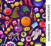 seamless halloween pattern.... | Shutterstock .eps vector #496439143