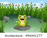Cartoon Frog Sitting On The...
