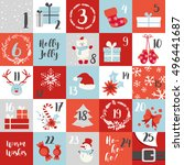 christmas advent calendar with... | Shutterstock .eps vector #496441687