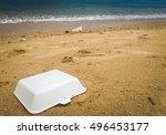 styrofoam on beach  pollution ... | Shutterstock . vector #496453177