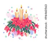 merry christmas watercolor...   Shutterstock . vector #496460563