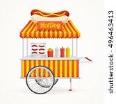 fast food hot dog street market ... | Shutterstock . vector #496463413