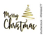 christmas with gold ribbon... | Shutterstock .eps vector #496466677