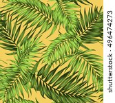 tropical palm leaves seamless... | Shutterstock .eps vector #496474273