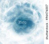 frozen window with falling snow ... | Shutterstock .eps vector #496476007