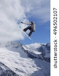 flying snowboarder on mountains.... | Shutterstock . vector #496502107