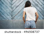 a street photo of a young... | Shutterstock . vector #496508737