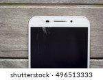 broken glass of smart phone on... | Shutterstock . vector #496513333