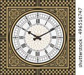 dial victorian clock in the... | Shutterstock .eps vector #496516747