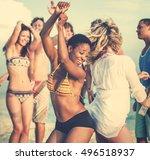 beach dancing party vacation... | Shutterstock . vector #496518937