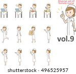 diverse set of female nurse  ... | Shutterstock .eps vector #496525957
