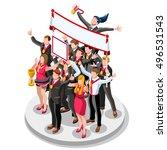 isometric people business team... | Shutterstock .eps vector #496531543