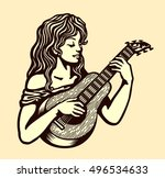 cute naive girl playing... | Shutterstock .eps vector #496534633