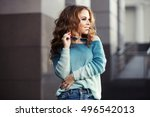 happy young stylish woman with... | Shutterstock . vector #496542013