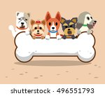 cartoon dogs with bone | Shutterstock .eps vector #496551793