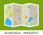 map with navigation. finding... | Shutterstock .eps vector #496563517