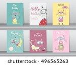 set of cute animals poster... | Shutterstock .eps vector #496565263