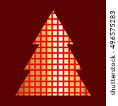 golden christmas tree icon with ... | Shutterstock .eps vector #496575283