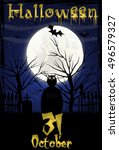 halloween background with... | Shutterstock .eps vector #496579327