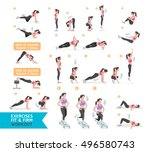 woman workout fitness  aerobic... | Shutterstock .eps vector #496580743