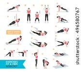 woman workout fitness  aerobic... | Shutterstock .eps vector #496580767
