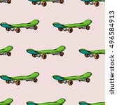 seamless pattern with skate... | Shutterstock .eps vector #496584913