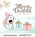 hand drawn christmas card with... | Shutterstock .eps vector #496585747