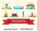taiwan travel destination.... | Shutterstock .eps vector #496588447