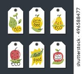 eco and bio food labels set... | Shutterstock .eps vector #496588477