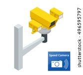 a speed control radar camera.    Shutterstock .eps vector #496595797