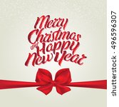 christmas holiday card with bow ... | Shutterstock .eps vector #496596307
