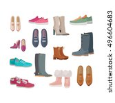 set of woman's shoes. flat... | Shutterstock .eps vector #496604683