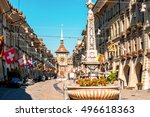 street view on kramgasse with... | Shutterstock . vector #496618363