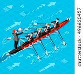 teamwork rowing businesspeople... | Shutterstock .eps vector #496620457