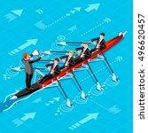 canoe rowing teamwork wins.... | Shutterstock .eps vector #496620457